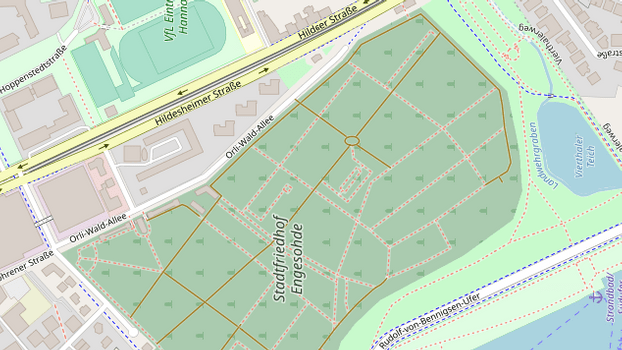 Stadtfriedhof Engesohde bei openstreetmap.org